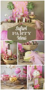 A pink, green and gold glam jungle themed safari girl birthday party with  amazing party