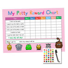 Details About Pink Potty Toilet Training Reward Chart Kids Child Sticker Star A4 Reusable