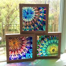 stained glass painting three mandalas stained glass x cm stained glass paint kit michaels