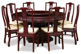 60 rosewood flower and bird design round dining table with 8 chairs