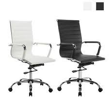 office chair white leather. High Back Leather Office Chair Ribbed Executive Task Ergonomic Computer Desk Office Chair White Leather