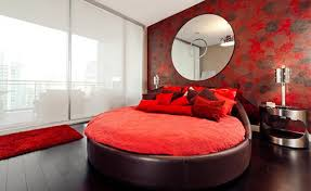 modern bedroom red. Chic Red Round Bed Modern Bedroom