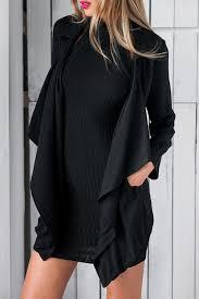 trendy turn down collar long sleeve pocket design women s black trench coat black l