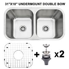 31x18 Double Bowl 16 Gauge Stainless Steel 9 Deep Kitchen Sink