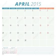 Calendar Planner 2015 Template Week Starts Monday Royalty Free