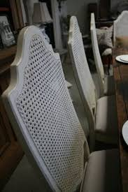 reloved rubbish vine cane back chairs in old white