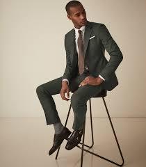 Reiss Size Chart Mens Foster Green Slim Fit Wool Trousers Reiss