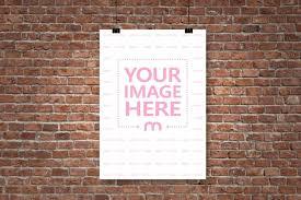paper hanging on brick wall mockup