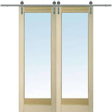 60 in x 96 in clear 1 lite unfinished poplar double barn door with
