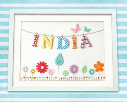 this pretty bunting flower meadow personalised childrens artwork makes a beautiful and unique gift for any little s room