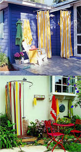 shower curtains or outdoor fabrics come in all kinds of colors and patterns use with a bendable or half oval shower curtain rod or a bendable metal rod to