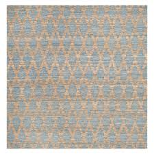 Light Blue And Gold Rug 6x6 Tribal Design Woven Square Area Rug Light Blue Gold