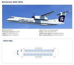 De Havilland Dash 8 400 Seating Chart Alaska Airlines Bobmardier Q400 Dh4 Aircraft Seating Chart