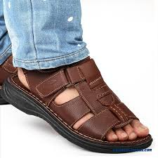 summer new men s leather breathable casual open toe sandals