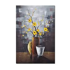 wieco art silent beauty modern stretched and framed floral artwork 100 hand painted abstract flowers oil paintings on canvas wall art ready to hang for  on hand painted canvas wall art uk with wieco art silent beauty modern stretched and framed floral artwork