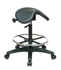 com office star backless office stool with saddle seat and angle adjustment black 25 to 35 inch adjule height kitchen dining