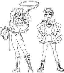 wonder woman and supergirl super hero high coloring page free printable pages girl dc