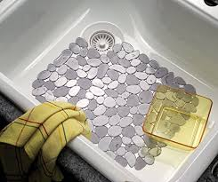 MDesign Pebbles Kitchen Sink Protector Mat Graphite   B0149BE9Y8