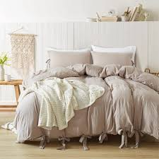 new simple style washed cotton duvet cover with pillow case polyester bedding set twin queen king all size unique duvet covers boy bedding from