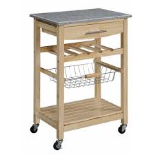 Granite Top Kitchen Trolley Linon Kitchen Cart With Granite Top Gray Natural Bjs