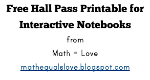 Hallway Pass Template Math Love Free Interactive Notebook Hall Pass