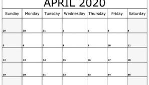 Blank April 2020 Calendar Printable Free Download Free