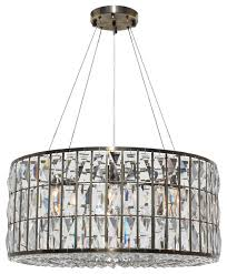 the monroe round clear crystal chandelier antique brass finish