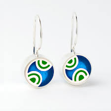 3523 Q Mini Round art deco French wire earrings