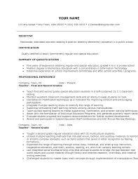 Cover Letter Template For Experienced Teacher Resume Elementary