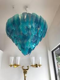 spectacular modern turquoise murano textured glass leaves chandelier 12 regular base sockets recommended 25