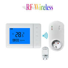 programmable lcd touch screen rf wireless thermostat 16a electric floor heating infrared heater with plug socket outlet 100 240vin temperature instruments heated floor thermostat o5