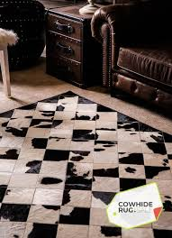 black white cow mosaic rug 2