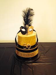 black and gold 30th masquarade birthday cake