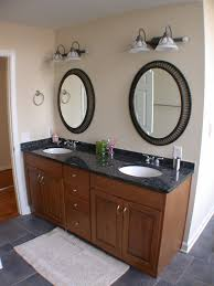 furniture brown wooden bathroom vanity with double circle white sinks and stainless faucets added by
