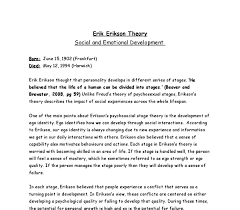 erik erikson essay  www gxart orgerik erikson theory social and emotional development a level document image preview