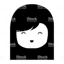 小さな日本の人形頭かわいい文字 おもちゃのベクターアート素材や画像