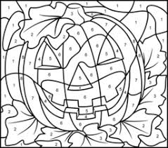 Color by number pages also include the concept of following directions. Halloween Coloring Pages