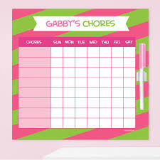 Double Initial Stripes Pink Chore Chart