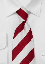 red white striped silk tie