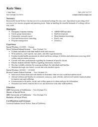 Resume Template Social Work Resume Template Free Career Resume