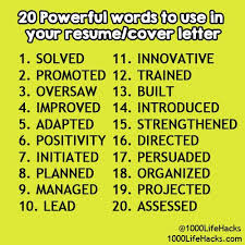 Words To Use In Cover Letters Cover Letter Power Words Cover Letter Power Words 9 Page