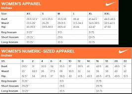 Nike Compression Pants Size Chart Nike Size Chart Women Bedowntowndaytona Com