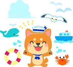 夏の海のイラストセット 柴犬 イラスト素材 5548580 フォトライブ