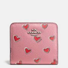 Coach SMALL WALLET IN HEART PRINT CROSSGRAIN LEATHER Coach Wristlet,  Wristlet Wallet, Small Wallet