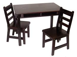 child s rectangular table with shelves 2 chairs espresso finish