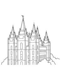 Small Picture Family at the temple Primary coloring page for kids LDS For