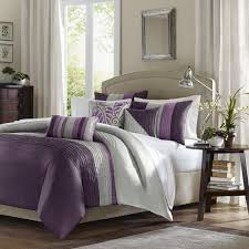 madison park amherst duvet cover king cal king size purple grey pieced stripes duvet cover set 6 piece ultra soft microfiber light weight bed