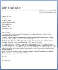 Equipment Operator Cover Letter Examples Creative Resume Design