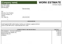 Work Estimate Templates Excel Work Estimate Template My Excel Templates