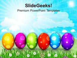 Colourful Easter Eggs In A Row Powerpoint Templates Ppt